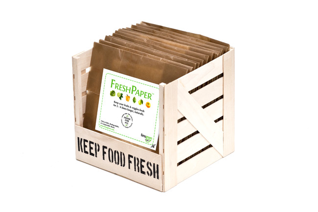 <strong>FreshPaper</strong><br />FreshPaper, by Fenugreen is an organic sheet of paper that keeps fruits and vegetables fresh, no refrigeration necessary. The paper, inspired by a recipe from designer