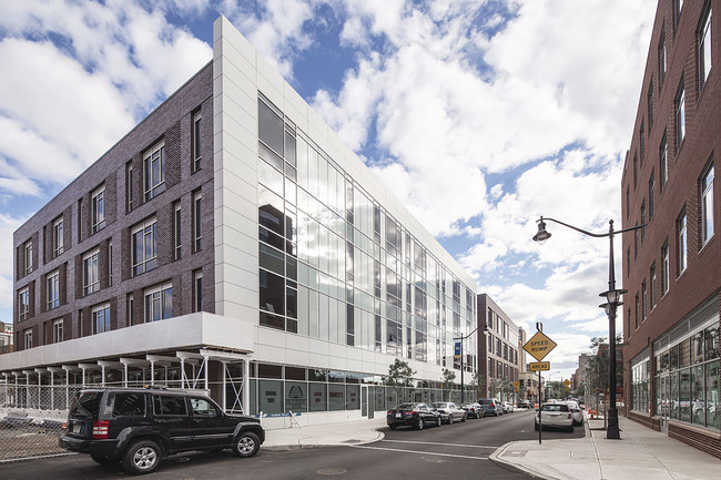 The building houses two charter schools with interiors designed by the  Princeton-based KSS Architects.