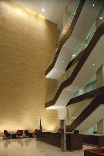 The main lobby at the College of Education with cascading staircase.