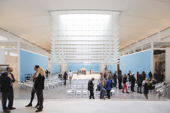 Louvers surrounding a skylight allow the museum to control the amount of natural light entering the exhibition spaces.