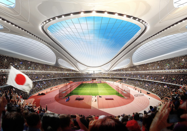 The new national stadium of Japan, by Zaha Hadid Architects, will be built for the 2020 summer Olympics in Tokyo.
