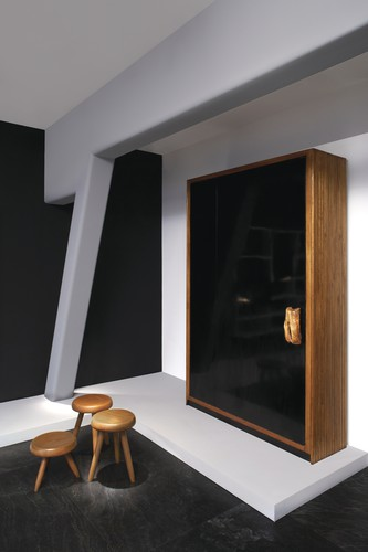 Charlotte Perriand<br />Cupboard (circa 1959)<br />Oregon pine tree, olive tree, black lacquered formica<br />Provenance: Jean and Huguette Borot&#8217;s house, Paris<br />