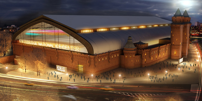 A rendering of the Kingsbridge Armory in the Bronx. It will be transformed into an ice sports facility.