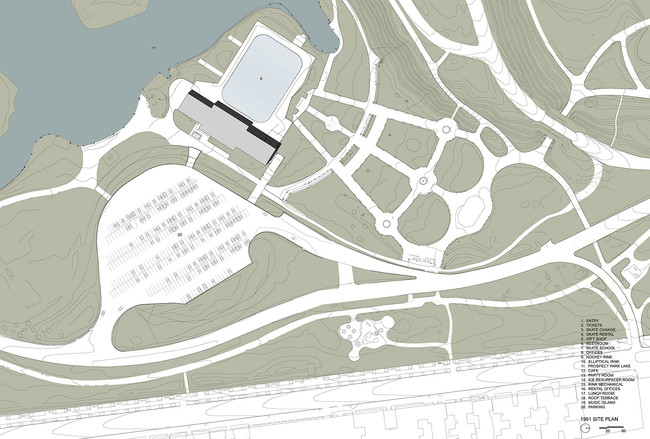 Site plan showing 1961 skating rink and parking lot. <a href='http://www.archrecord.construction.com/news/2013/12/Lakeside-First-Look/12_full.jpg'>Click to enlarge</a>.<br />