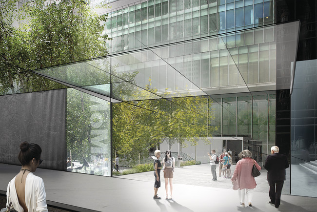 Concept sketch showing Diller Scofidio + Renfro's plan for the Museum of Modern Art. View of the Sculpture Garden entrance on 54th Street.<br />