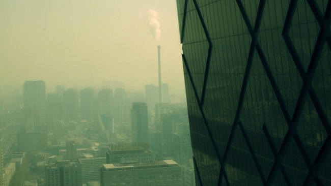 <p>Film Still from <em>REM</em>:</p><p>View from the top of the CCTV Headquarters in Beijing</p>