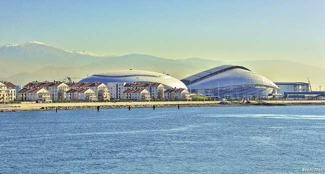 View of the Coastal Cluster of Olympic venues in Sochi