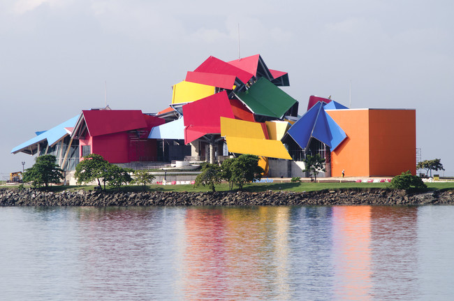The biodiversity museum, which sits along Panama City's Amador Causeway, is visible from great distances across the bay.