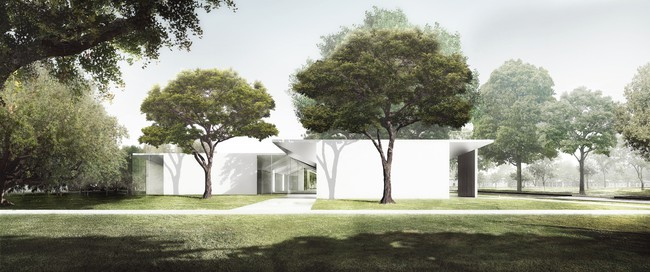 The Menil Drawing Institute, west façade as seen from the Energy House.