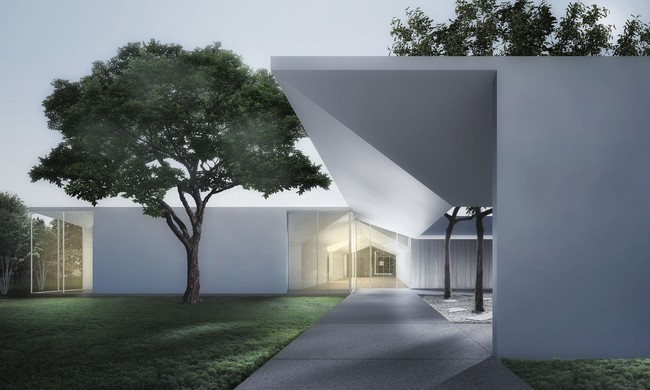 Menil Drawing Institute at dusk, looking past the west entrance courtyard.