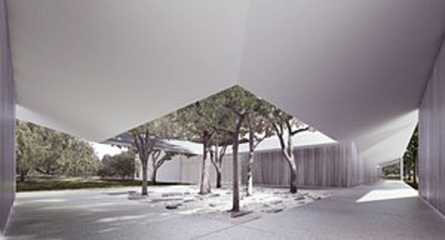 The west courtyard of the Menil Drawing Institute.