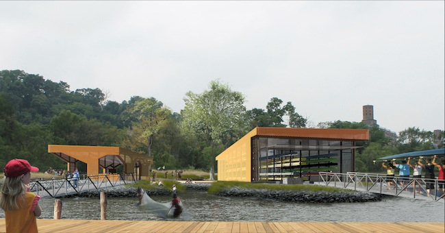 Bade Stageberg Cox's winning design for an  education center and boathouse along the Harlem River.