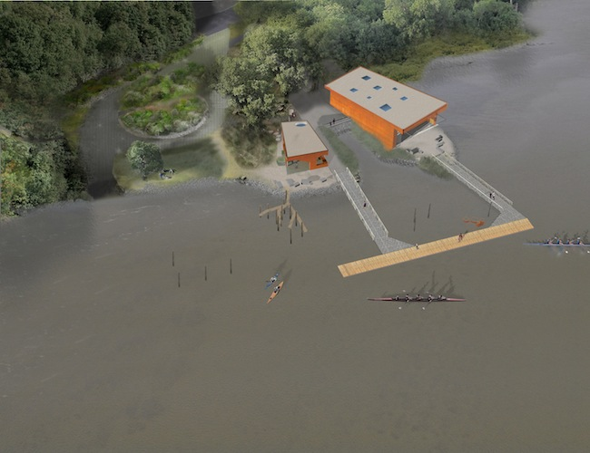 The winning design, Edge Portals, places two rectangular  buildings on two separate peninsulas flush with the water's edge. Two gangways  from the buildings connect with a floating dock.