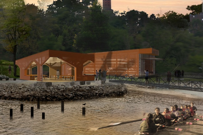 Both structures will be made of a latticed, weathering steel  skin, allowing for durability and permeability for floodwaters.