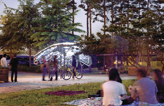 Living Light, 2009<br />The Living<br />Seoul<br />This permanent pavilion in a public park uses LEDs and data from government-monitored sensors to map air quality throughout the city.