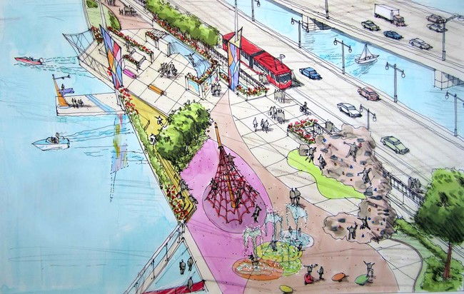 An artist's rendering of possibilities for the planned 11th Street Bridge Park in Washington, D.C.