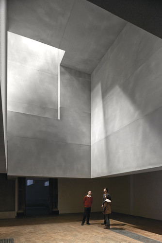Grafton Architects installed a series of sculptural, suspended volumes in the roof.