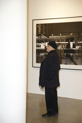Frank Gehry observes his curatorial work at Milk Gallery.