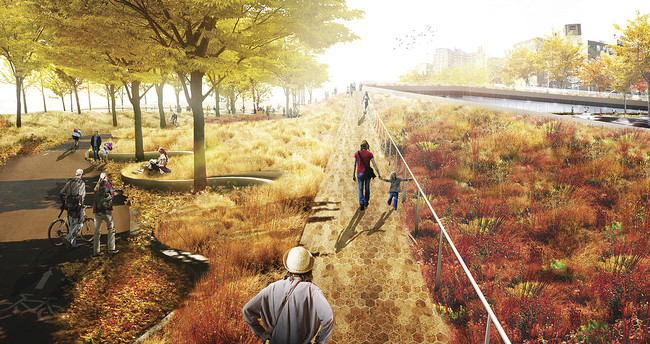 A Rebuild by Design team, led by BIG, proposes a 'bridging berm' at New York City's East River Park.