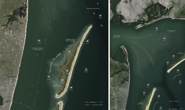 WXY Architecture and Urban Design and West 8 avoided high flood walls by proposing a series of protective sand islands that would run along the Atlantic seacoast from Cape Cod, Massachusetts, to Cape
