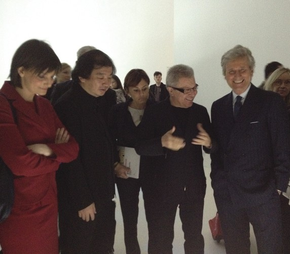 Shigeru Ban, Daniel Libeskind, and Kartell CEO and Salone president Claudio Luti at the <em>Where Architects Live</em> exhibition. <br />