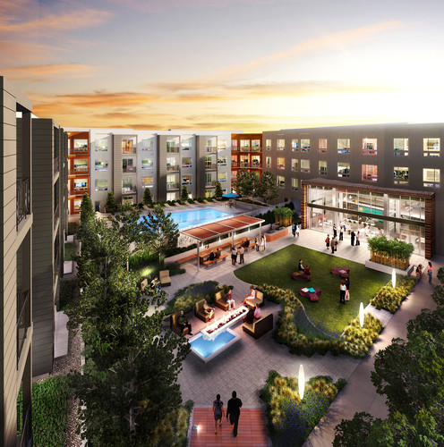 Fort Totten Square will have two interconnected courtyards for  residents, featuring a swimming pool, a garden, and large club room  surrounded by an outdoor terrace.