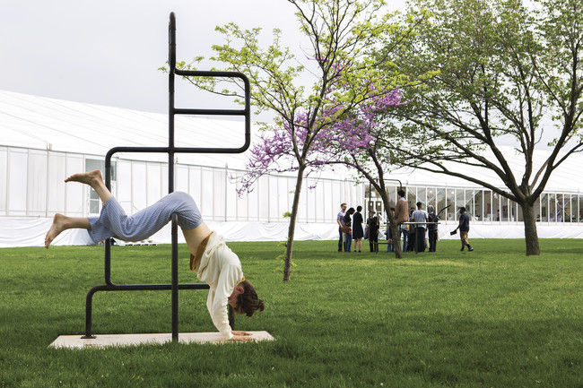 Performers precariously snooze in artist Eva Kot&#225;tkov&#225;'s installation <em>The Architecture of Sleep</em> at the Frieze New York art fair last weekend.<br />