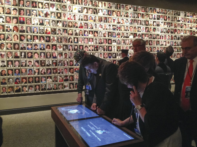 Memorial exhibition with monitors where visitors can call up information on any of the 9/11 victims. <br />