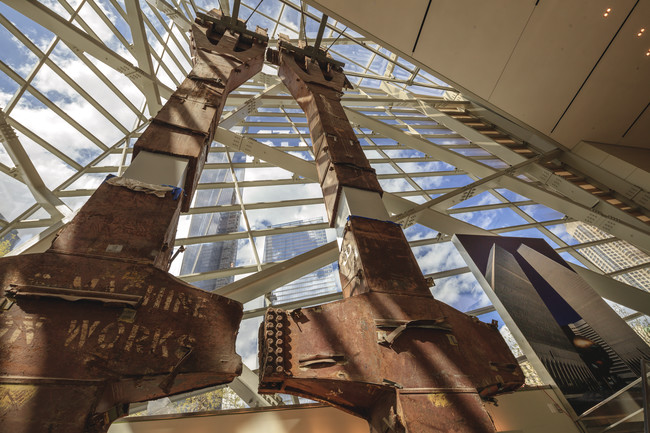 Tridents from the World Trade Center rising in the entry pavilion.