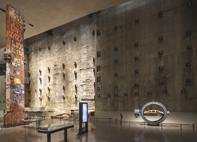 "Slurry wall and ""Last Column"" on the exhibition level."