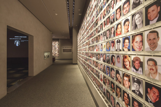 Memorial exhibition with photographs of 9/11 victims.