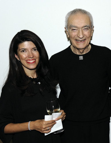Vignelli Associates Vice President Beatriz Cifuentes and Massimo Vignelli at the Richard Meier & Partners 50th Anniversary Party in October 2013.