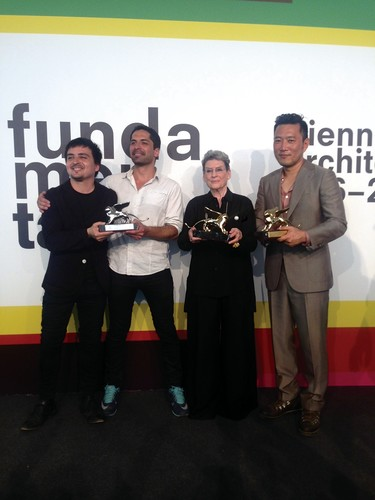 Curators Pedro Alonso and Hugo Palmarola of the Silver Lion-winning Chilean pavilion, with lifetime achievement winner Phyllis Lambert, and Minsuk Cho, whose Korean Pavilion won this year's Golden Lio