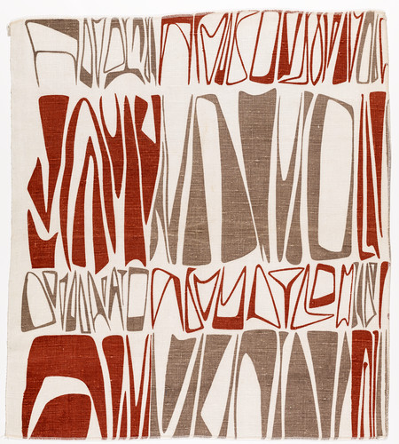 Ruth Adler Schnee, Cuneiforms, 1947–48. Screen-printed on linen, 27 ¼ x 24 3/8 in.