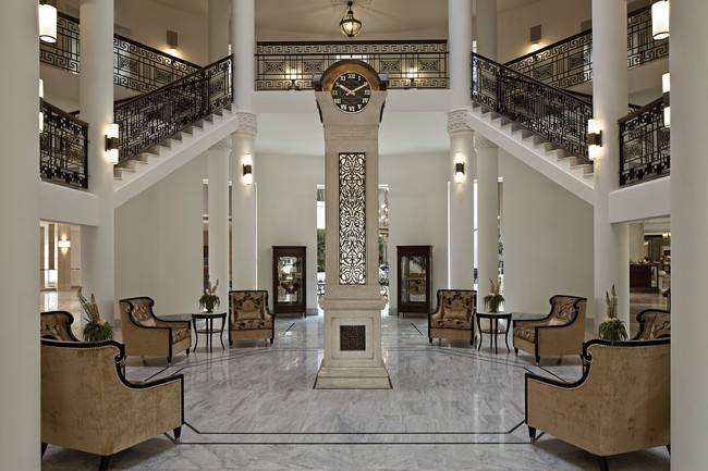 The Palace Hotel's trademark staircase was reconstructed in the hotel's rotunda.