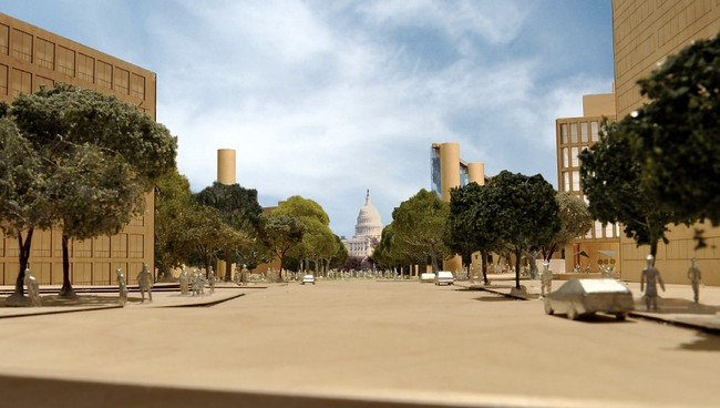 The revised design widens the view along Maryland Avenue towards the Capitol.