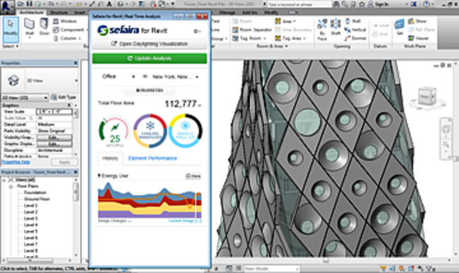 The Sefaira plug-in for Revit displays energy analysis within Revit's modeling environment.
