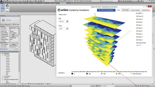 Daylighting analysis is visualized by mapping lux levels onto each building floor.