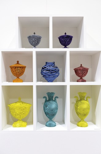 Ceramicist Michael Eden's 3D-printed nylon vessels appeared in an exhibition titled Future Heritage within the Decorex interiors fair. Its curator, Corinne Julius, brought together the work of 2