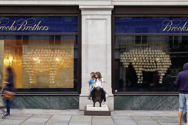 Squire & Partners' lustrous installation for Brooks Brothers—one of 15 temporary window displays by architects for Regent Street retailers—referenced the Golden Fleece, a historical
