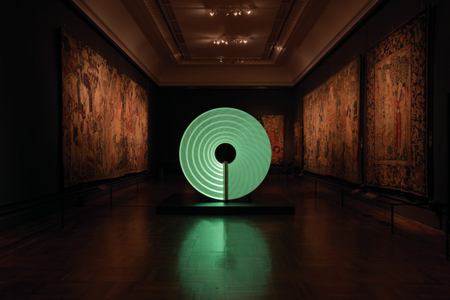Created by graphic designer Michael Montgomery, product designer Felix de Pass, and ceramicist Ian McIntyre, the hypnotic Candela cleverly responded to the requirements of its site, a V&A tapestry gal