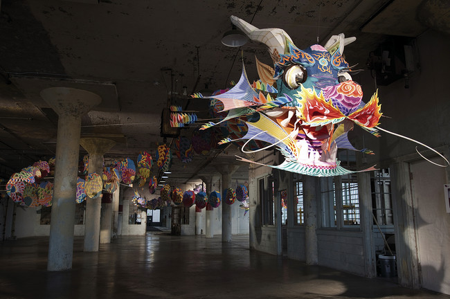 One of seven installations that is part of Ai Weiwei's <em>@Large</em> on Alcatraz, <em>With Wind</em> snakes through the front room in the New Industries Building.