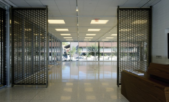 View from the entrance of the building. Marmol Radziner restored the bank's original metal gate.