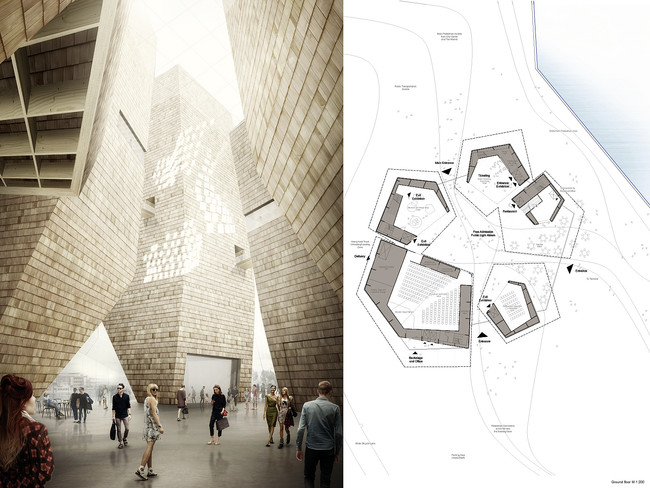 Finalist GH-76091181 comprises a ring of slender, sculptural towers  faced with timber shingles gathered around a cathedral-like central  space.<div id='_mcePaste'>&#65279;&#65279;