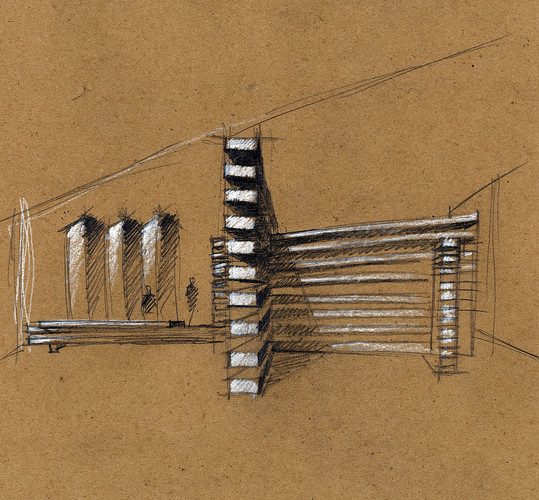 A concept sketch of the Collectors Lounge by Olson Kundig Architects.