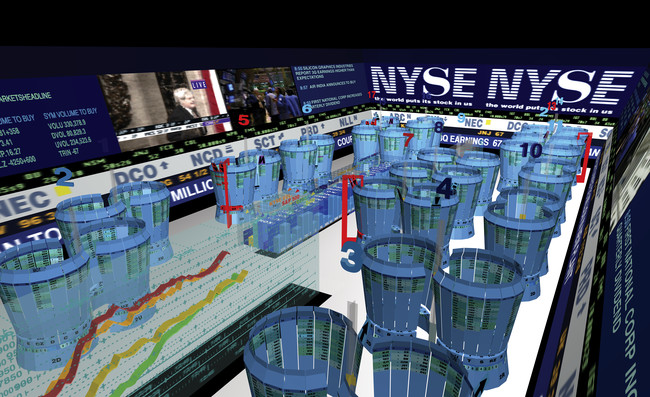 Asymptote Architecture's trading floor visualization project of the Virtual Trading Floor, 1997&#8211;1999.<div id='_mcePaste'>&#65279;&#65279;