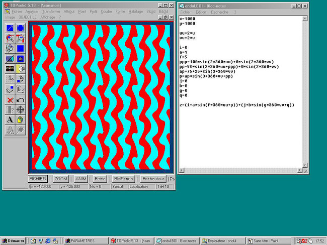 Objectile's (Bernard Cache) screenshot of TopSolid&#8482; version 5 interface showing variations of surfaces by manipulation of a parametric equation, 1998.<div id='_mcePaste'>&#65279;&#65279;