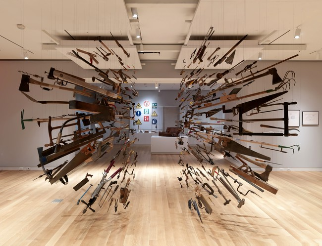 Dami&#225;n Ortega&#8217;s <em>Controller of the Universe</em> features 438 suspended hand tools. It is located on the third floor, in a new 6,000-square-foot gallery, as part of the exhibition <em>To