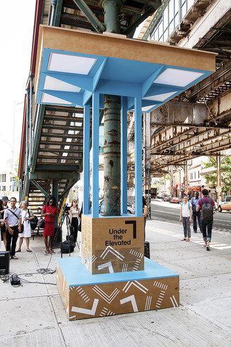 The Design Trust for  Public Space erected the Boogie Down Booth as part of its Under the  Elevated project. The temporary installation transformed an underused  space beneath subway tracks in the Sou