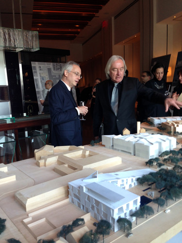 Chris McVoy and Steven Holl with their model for the expansion of Houston's Museum of Fine Arts.
